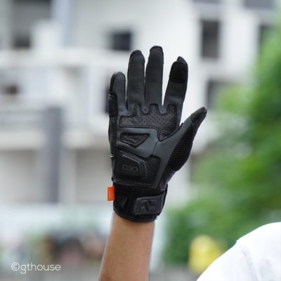 Racer Dune Black Adventure Riding Gloves actual photo palm