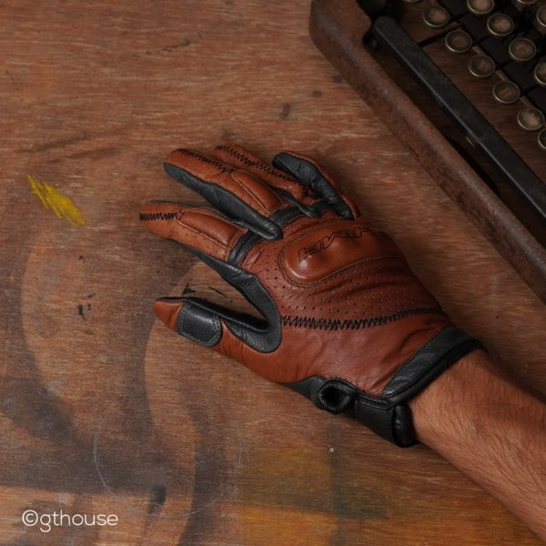 Shima Caliber Brown classic leather riding gloves actual photo back side