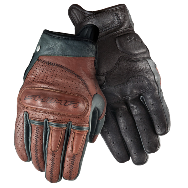 Shima Caliber Brown leather riding gloves