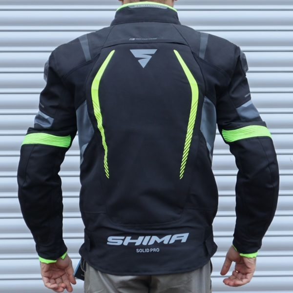Shima Solid Pro Textile Touring Jacket Fluo Actual Photo Back view